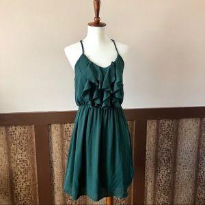 Francesca's Ruffled Dress in Hunter Green